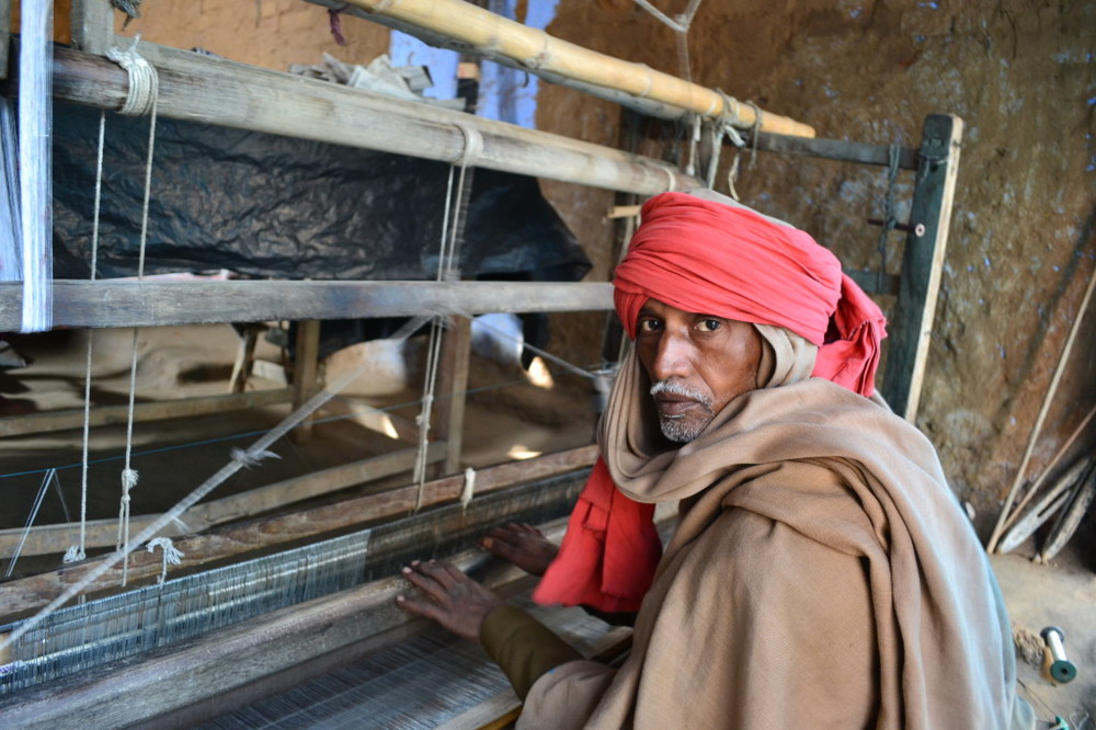A silk weaver at his loom in Bhagalpur, Bihar, India. Courtesy: Upaya SV.