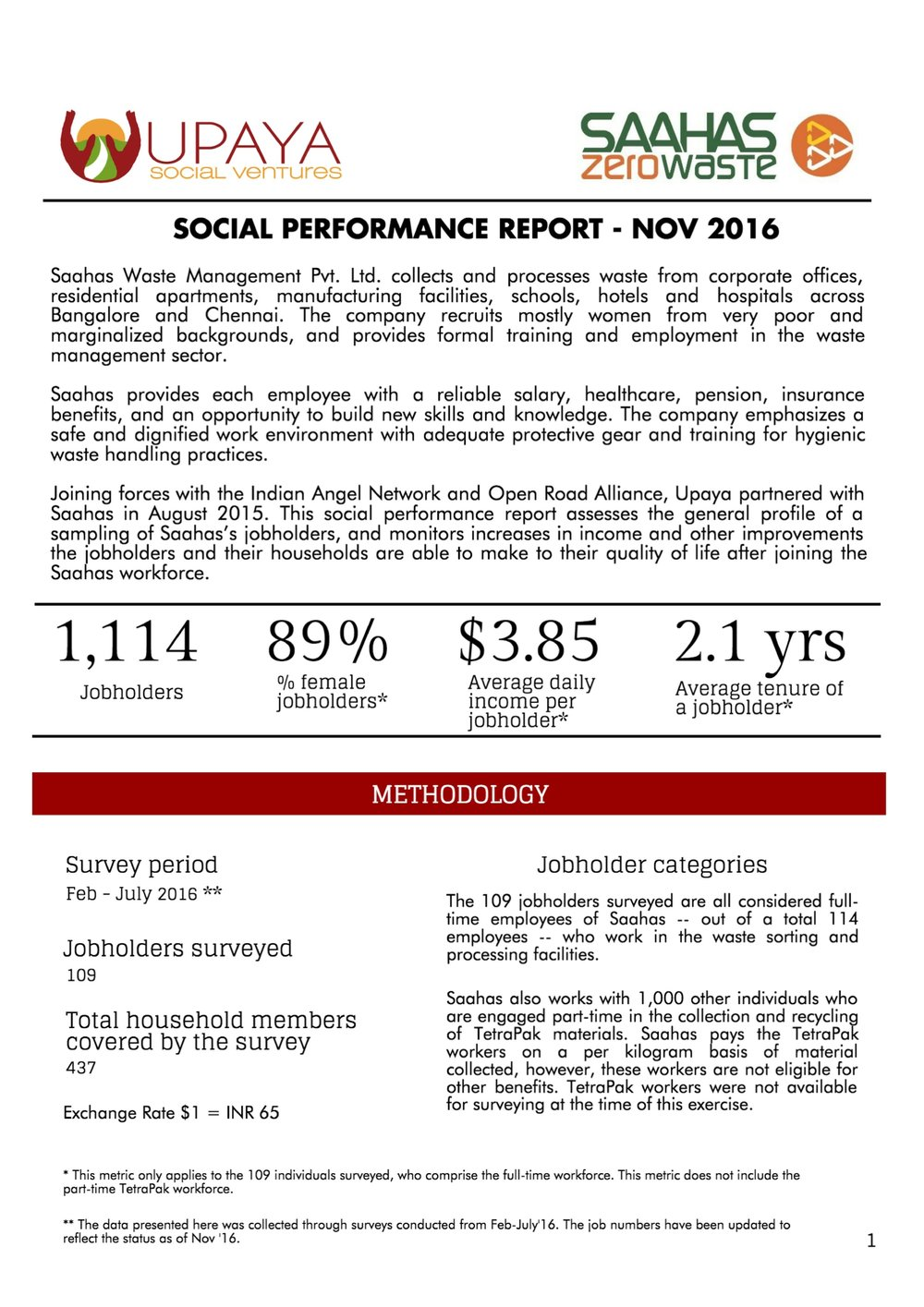Saahas Zero Waste Baseline Impact Report