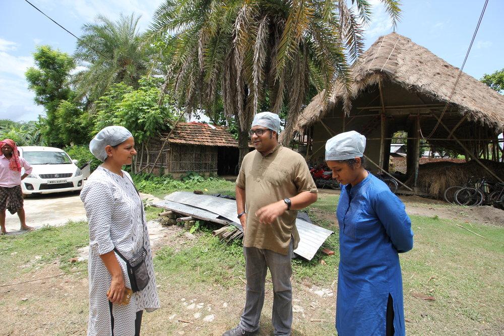 Ekta (left), Amit Alex (center) and Anu Jayaraman (right) during Upaya's field visit to ONganic.