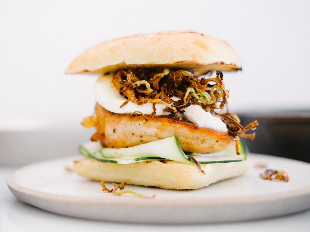 Spicy Honey Chicken Sandwich w/Crispy Fennel Chips Fix Feast Flair