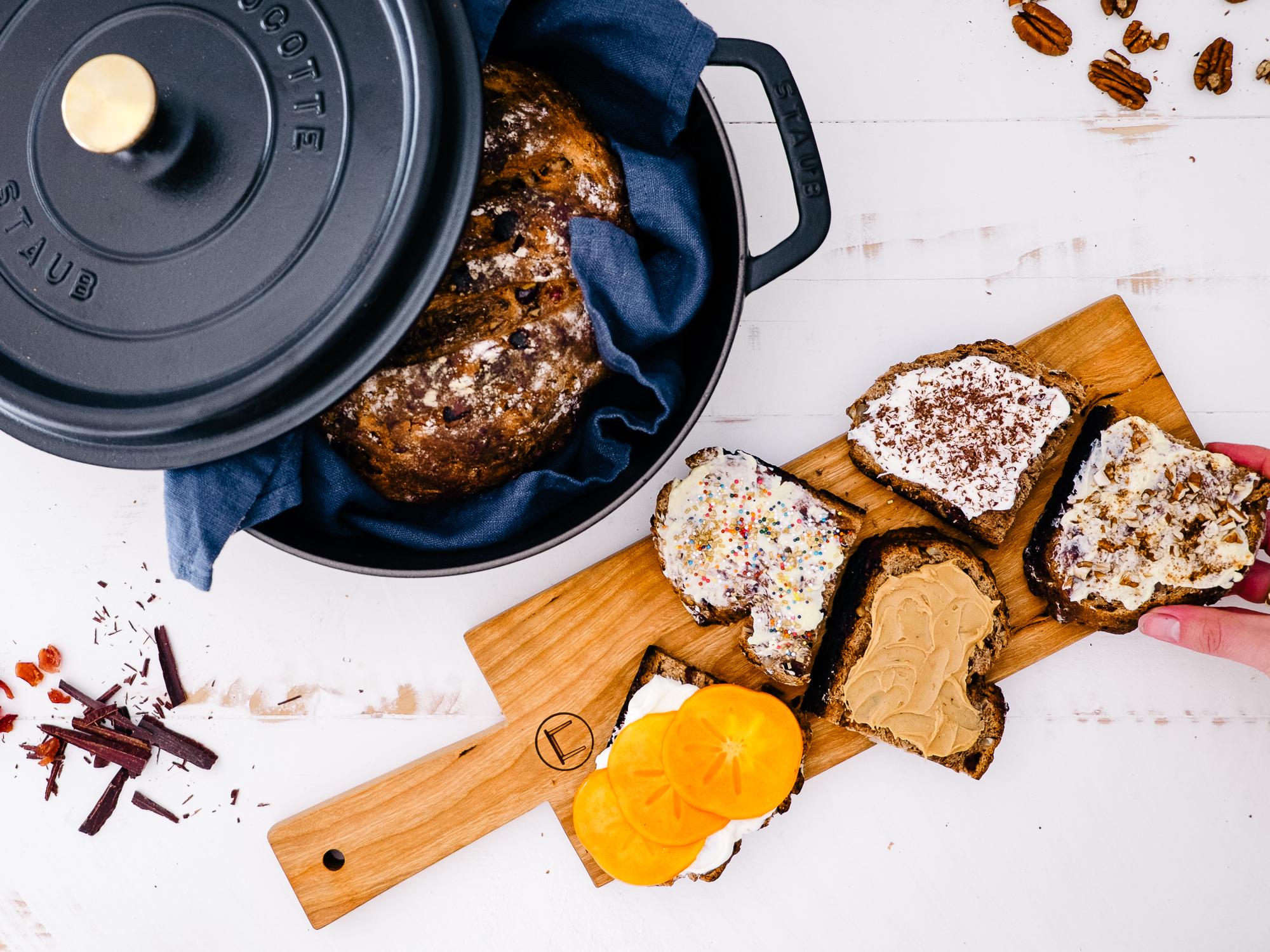Cranberry Dark Chocolate Pecan Rustic Dutch Oven Bread Fix Feast Flair