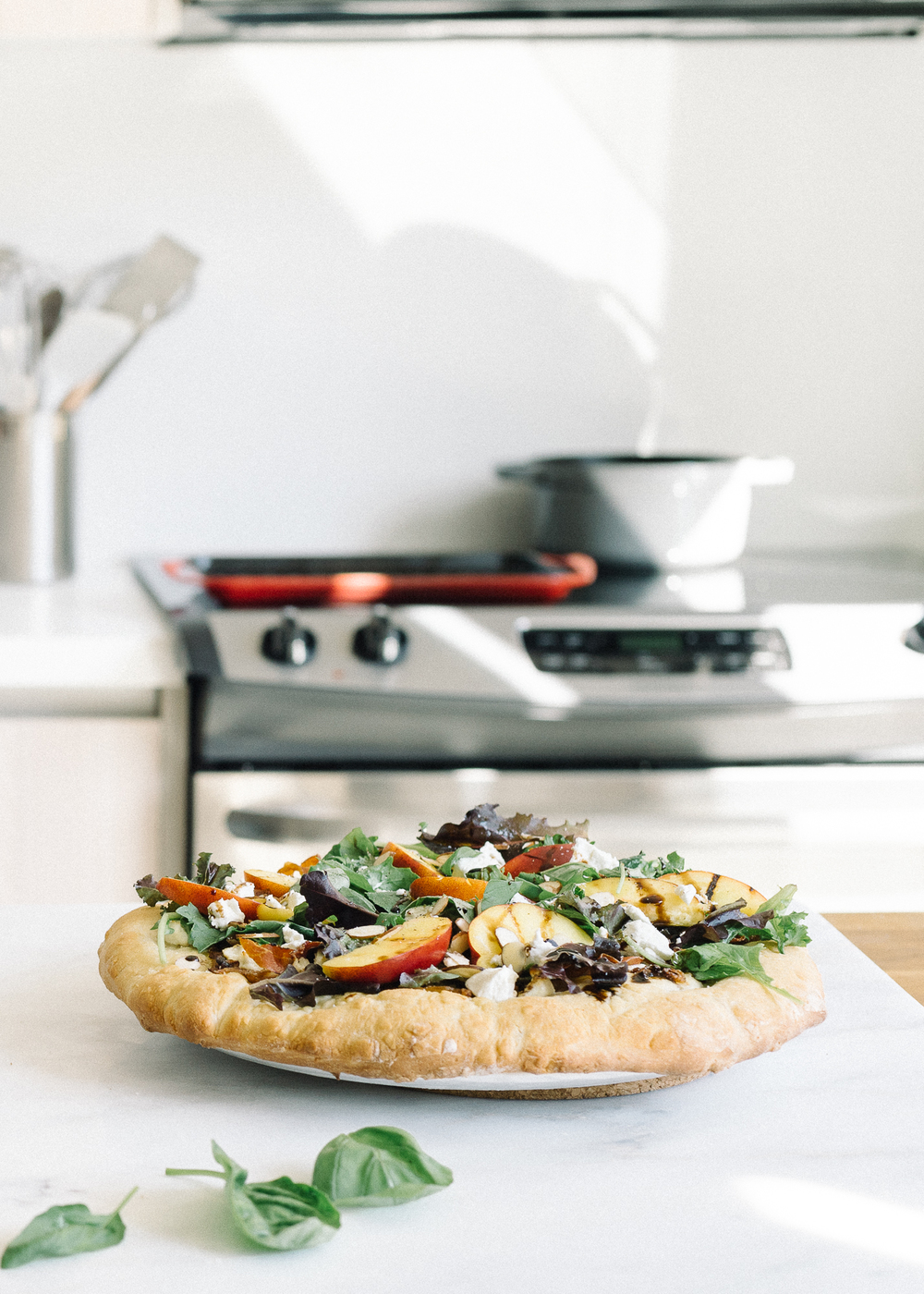 Nectarine + Goat Cheese Pizza Salad — Fix Feast Flair