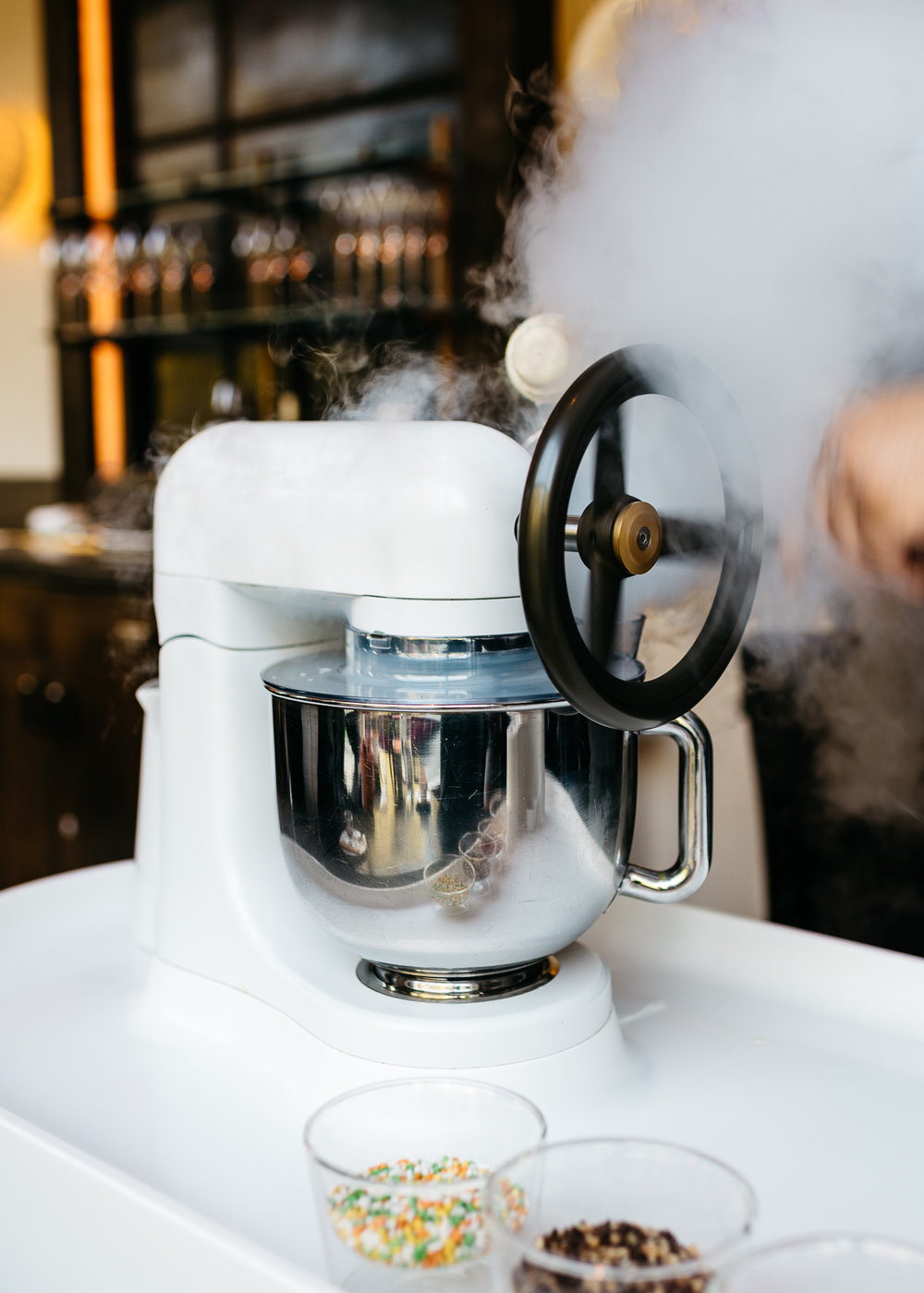 Liquid nitrogen vanilla ice cream made to order at Dinner by Heston Blumenthal