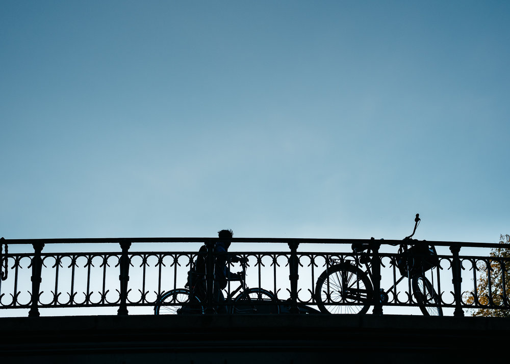 Biker riding home