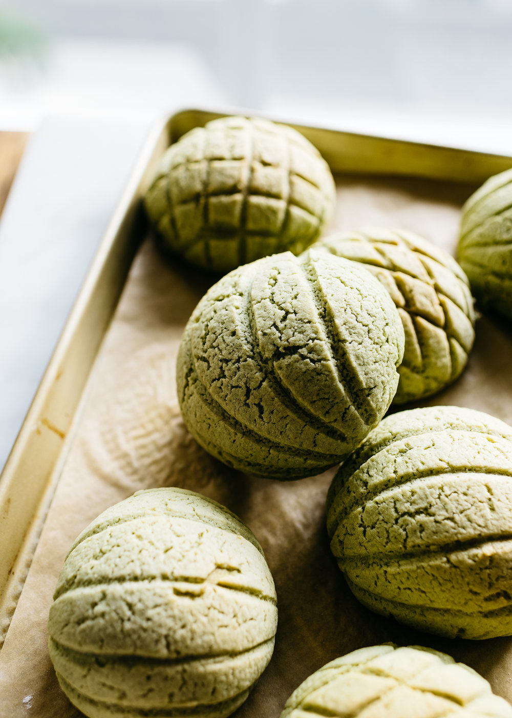 Matcha Melon Pan Japanese Sweet Bread Buns Fix Feast Flair