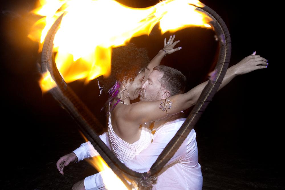 Heart Flame Wedding on the Beach