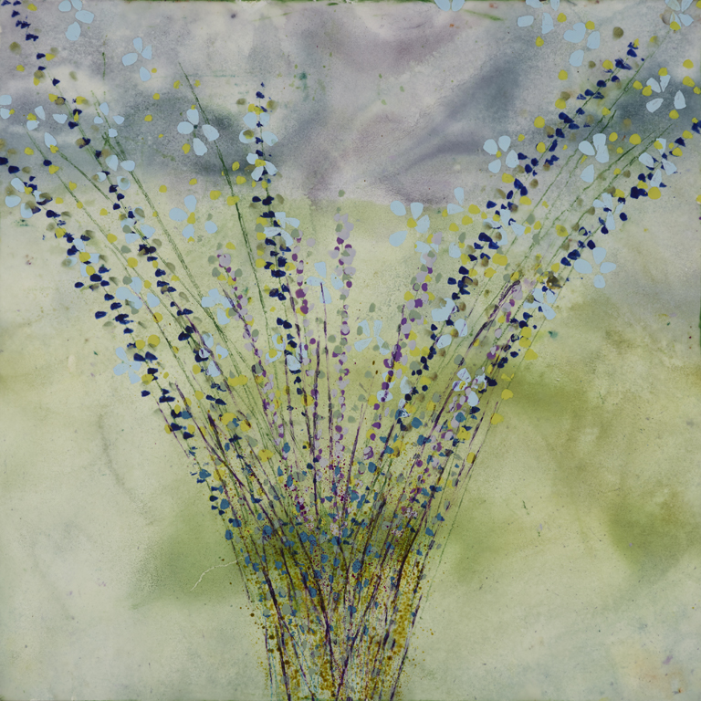 Reminds Me Of Spring, 24 x 24, Encaustic on Panel, $1800.