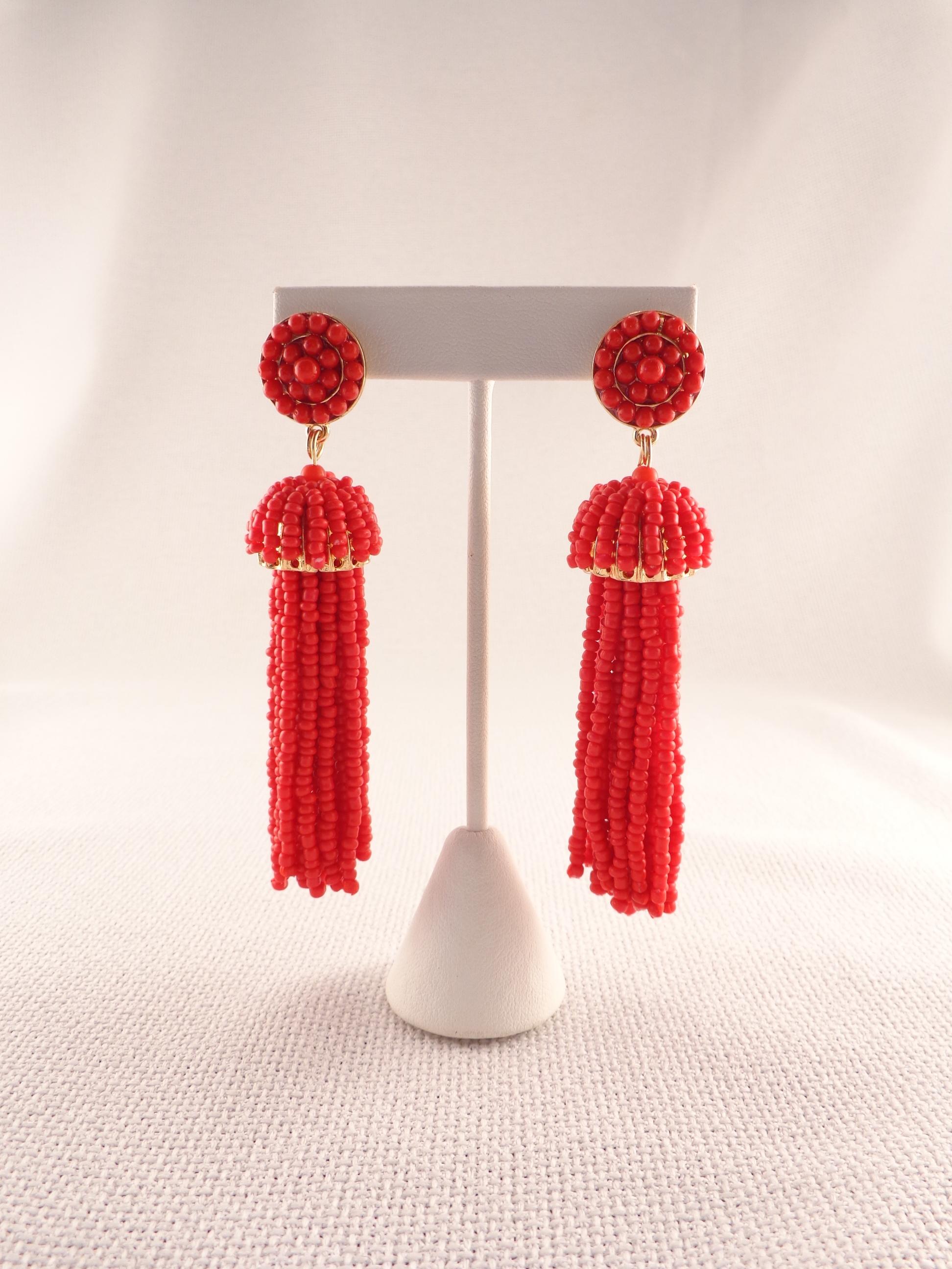 2eefcb8f4e6b84 Seed Bead Tassel Earrings - Red | Lydia Lister Jewelry