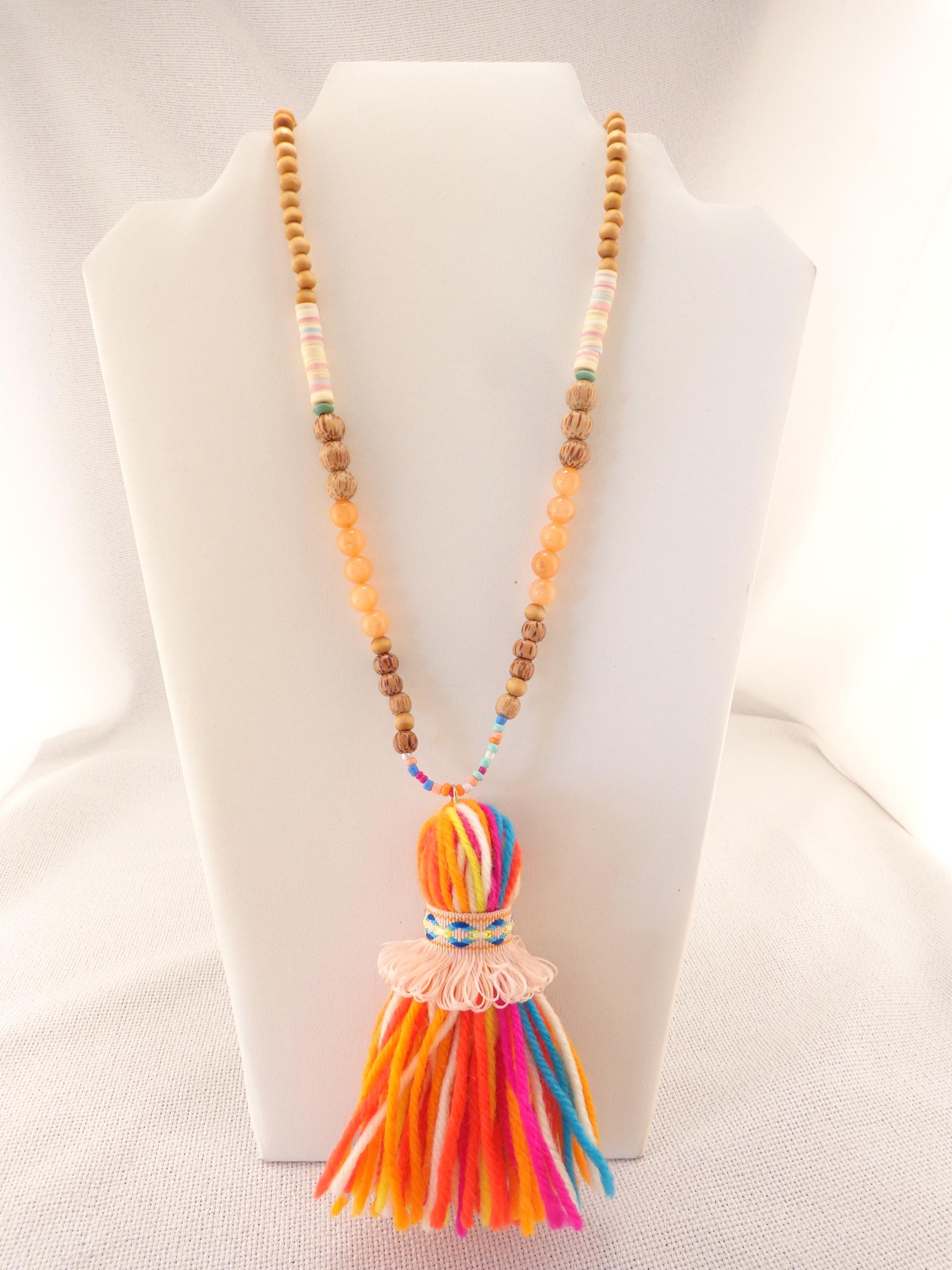 a6d05876f499f0 Wooden Bead Yarn Tassel Necklace - Orange | Lydia Lister Jewelry