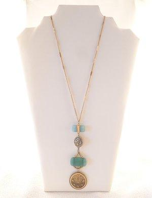 Long necklaces lydia lister jewelry sheila fajl akola project antique gold stone pendant necklace turquoise mozeypictures Choice Image