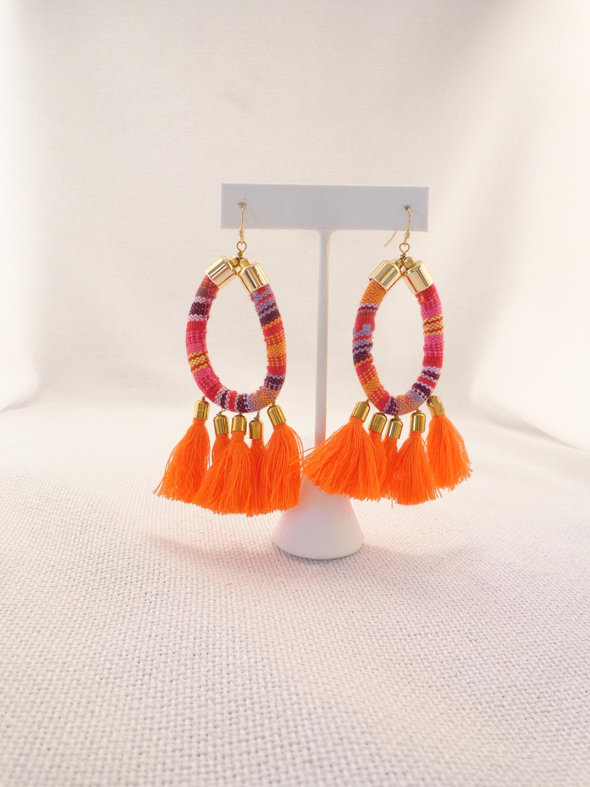 c0bc0e498f5dfc Fabric Tassel Earrings - Orange/Purple | Lydia Lister Jewelry