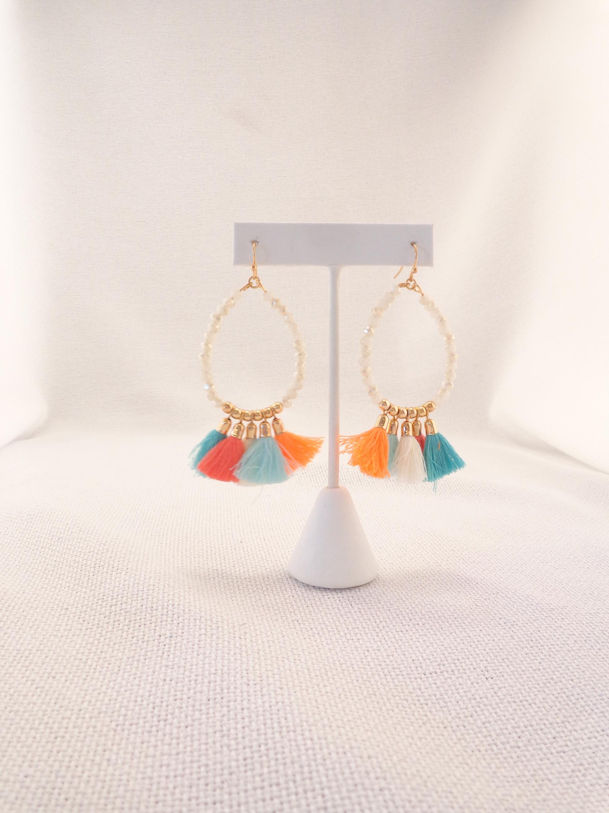 50247bdc885bdd Glass Bead Tassel Earrings - Orange/Teal | Lydia Lister Jewelry