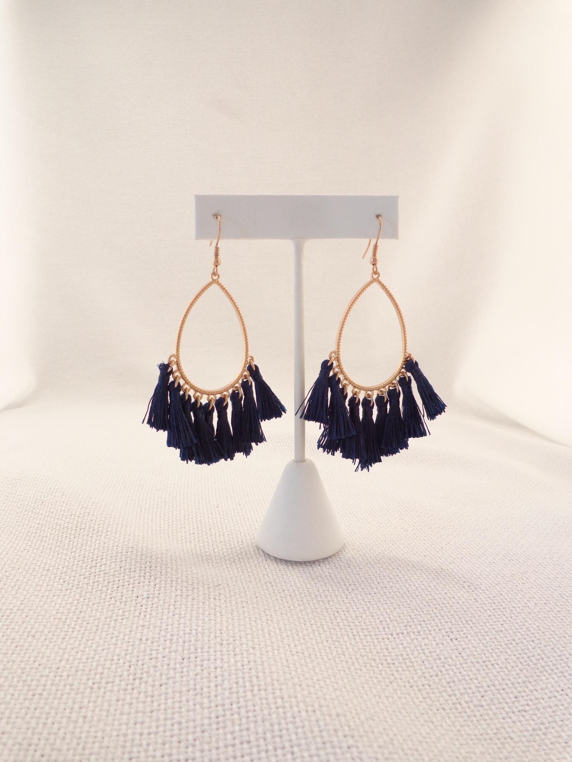 a6dc8e816ccc0a Teardrop Tassel Earrings - Navy Blue | Lydia Lister Jewelry