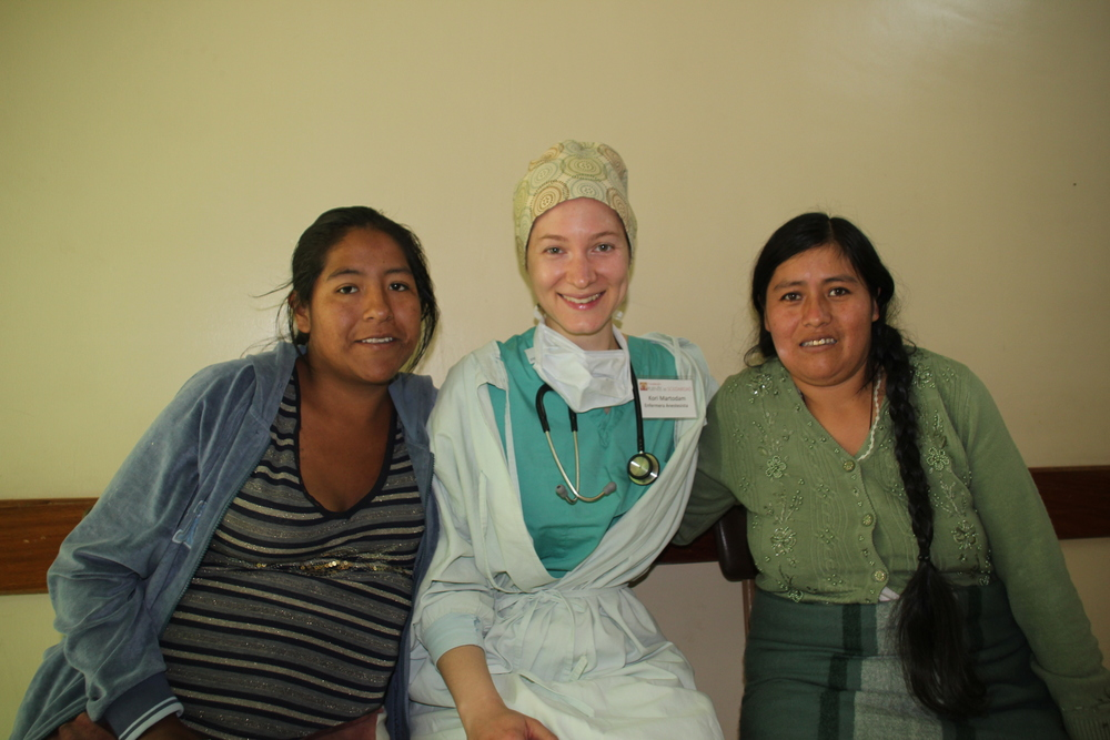 Gregoria and fellow surgery patient, Margarita, pictured with missioner Kori Martodam, CRNA.