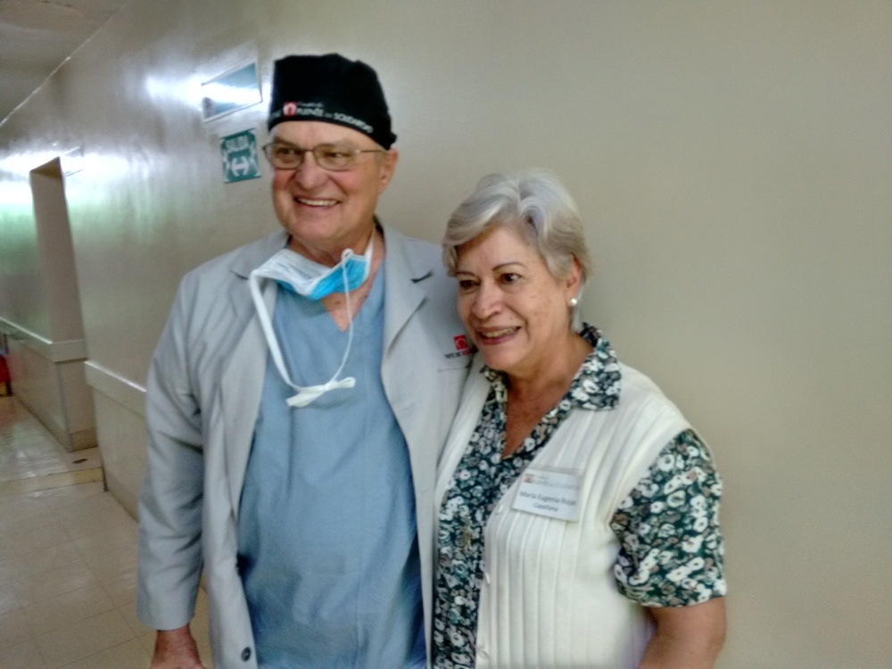 Dr. Ron Miller and Maria Eugenia Rojas between surgery and pastoral care.