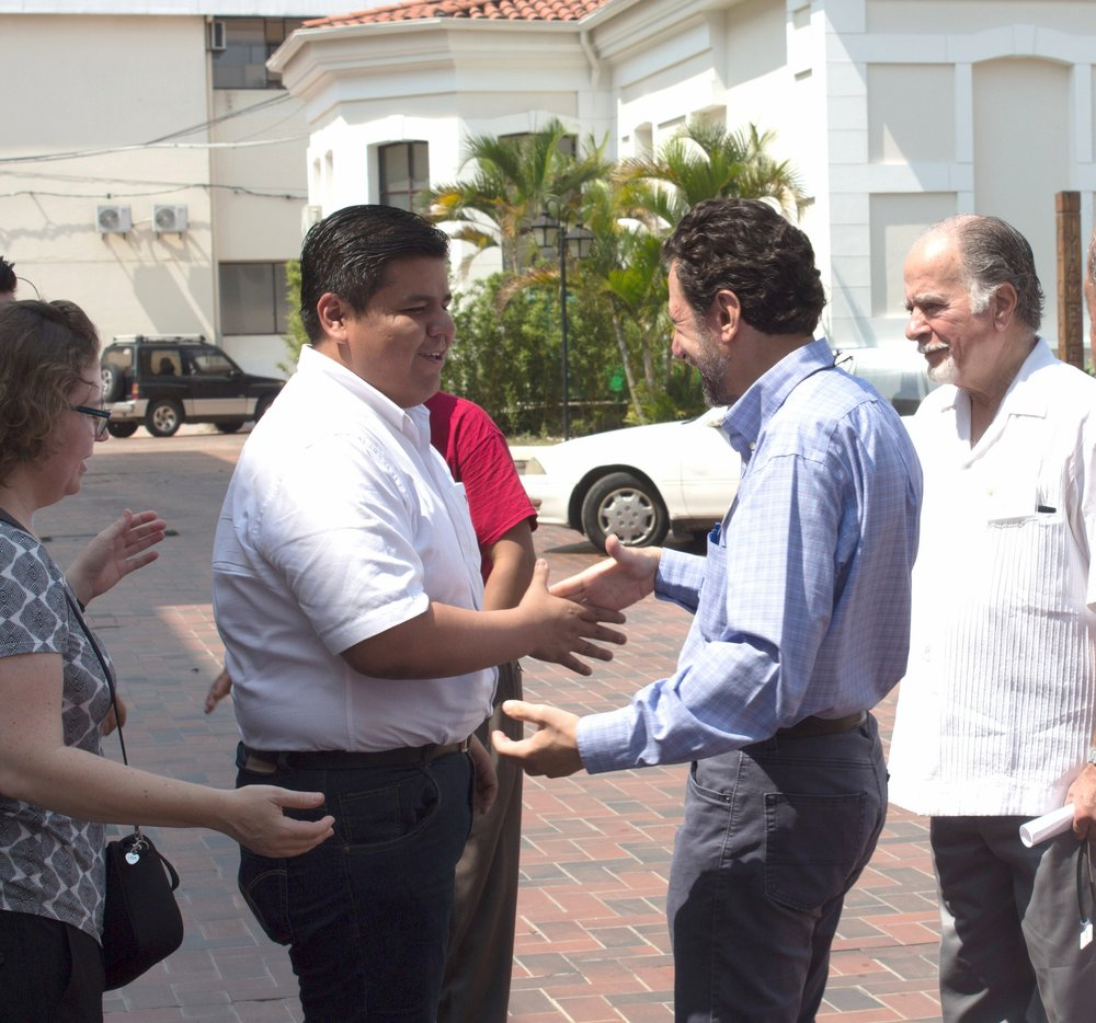 Dr. Magued Khouzam (right) greets Dr. Boris Urna, his Bolivian counterpart, at San Juan de Dios Hospital in October 2016.