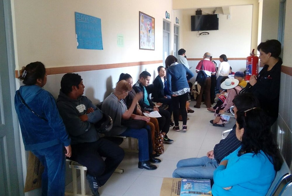 The waiting room at the Tiquipaya Hospital