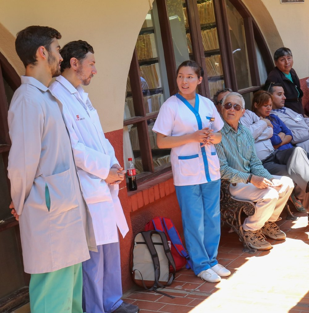 Nursing student Elena (center) with partners and missioners at the hospital in Punata, 2017
