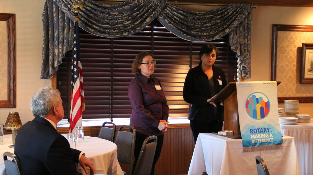 (From left) Jodi Grahl and Patricia Vargas at the Chicago-O'Hare Rotary Club