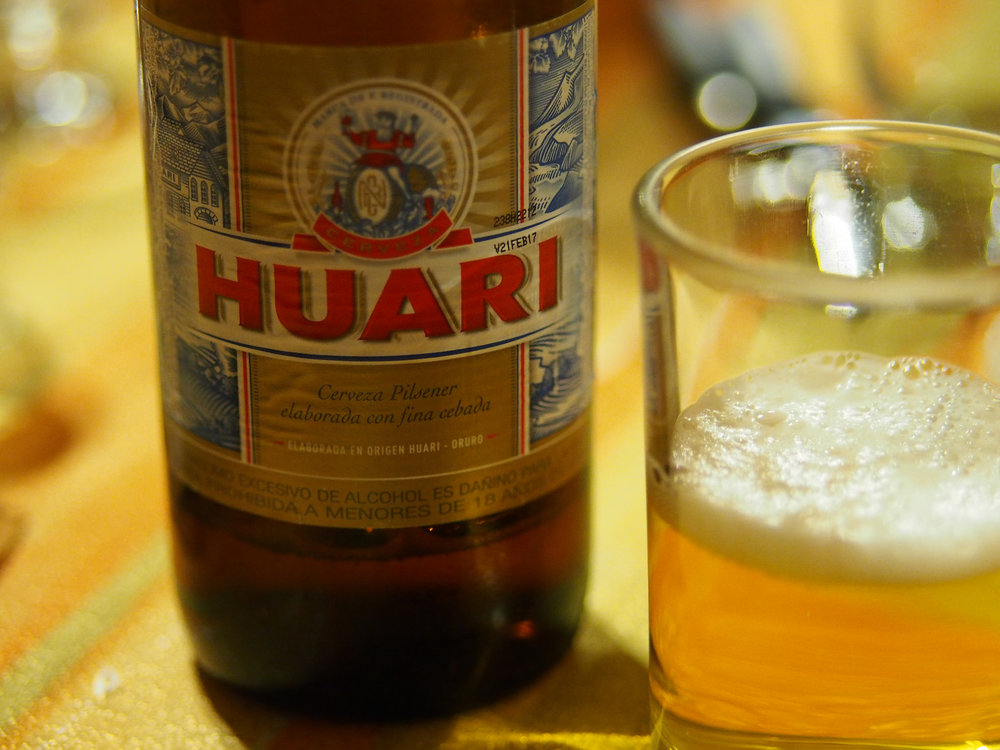 Popular Bolivian beers include Huari, Taquiña, and Paceña—all lagers.