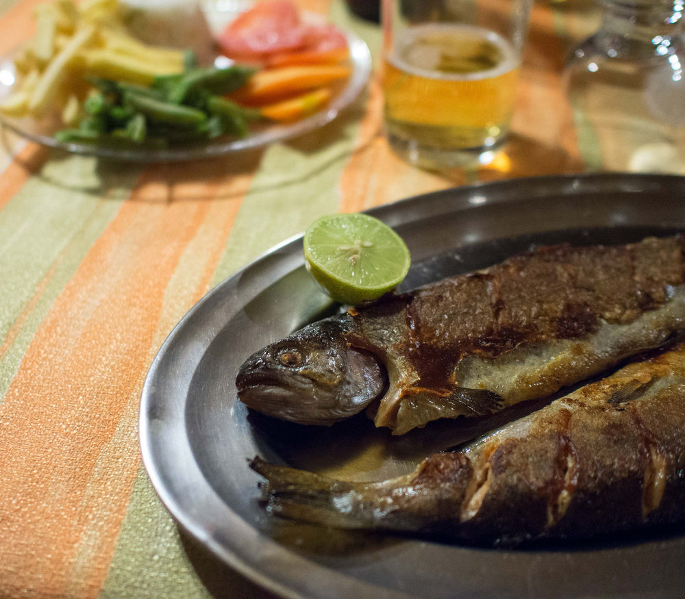 "Trucha  (trout), freshwater fish from Lake Titicaca, ""is delicious and a big deal,"" says Encinas. ""Bolivia is a landlocked country so seafood is not something you find on every corner."""