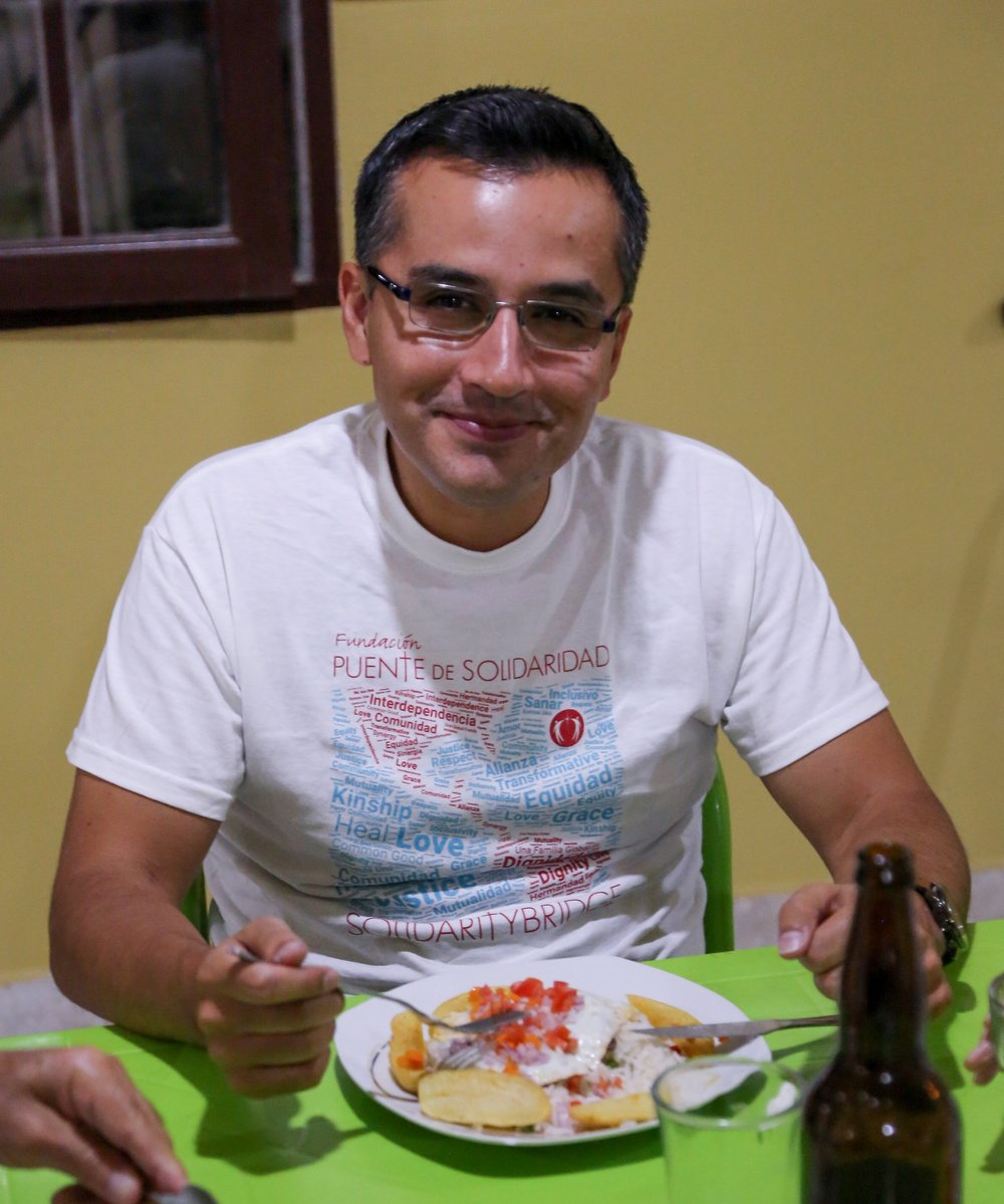 Dr. Alvaro Encinas enjoys a second helping of  silpancho .
