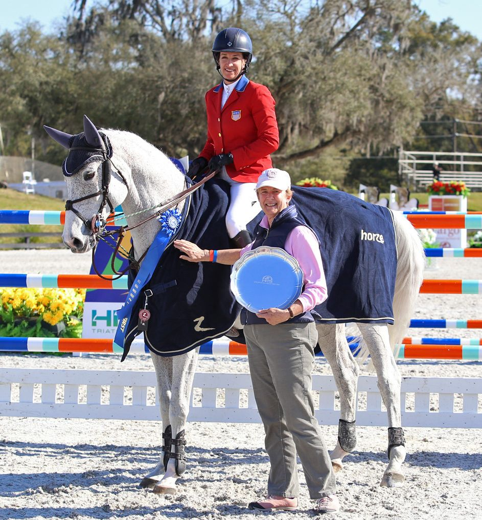 Margaret Duprey with rider Laura Kraut and Cedric