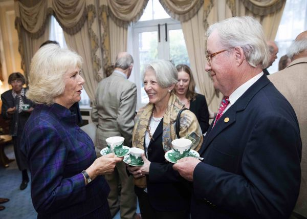 Her Royal Highness The Duchess of Cornwall with Fritz and Claudine Kundrun. Photo by Simon Palmer 2015.