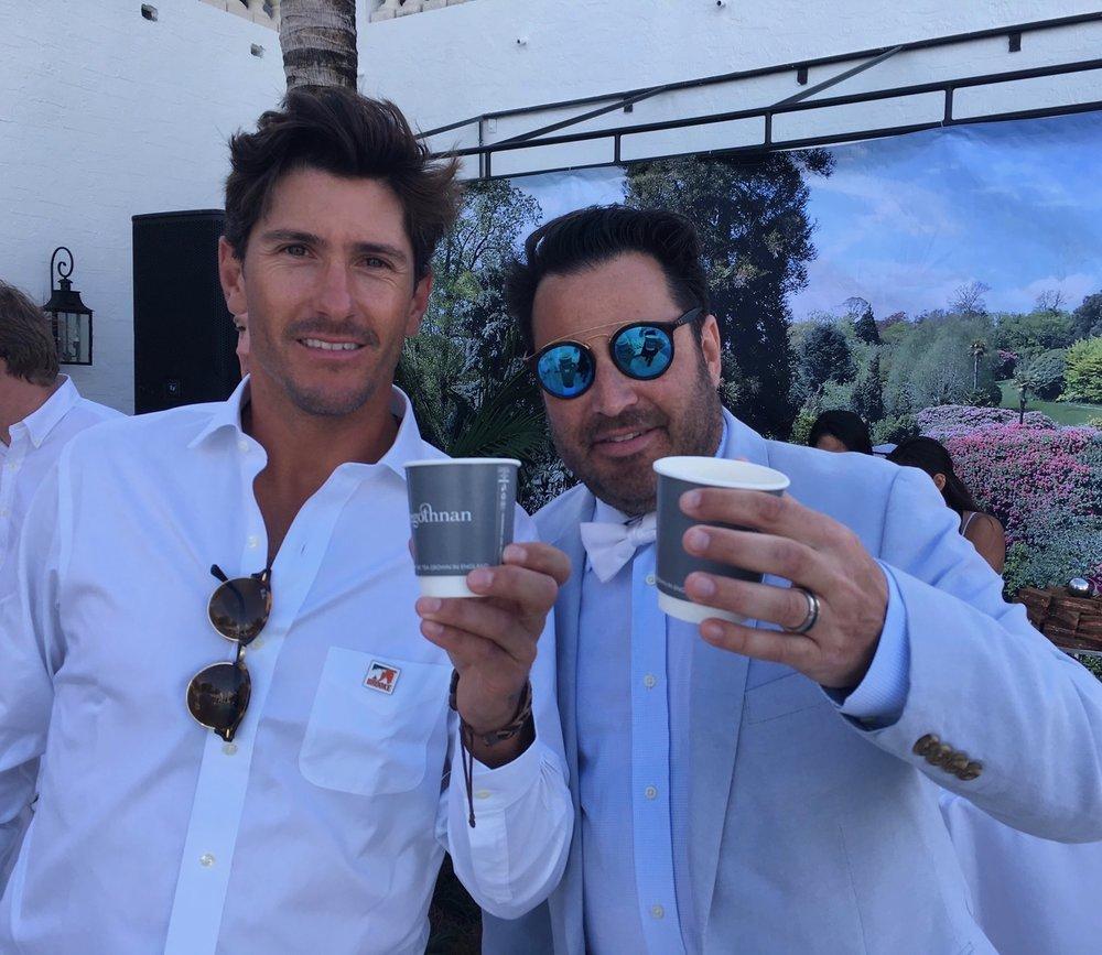 Nic Roldan & Josh Sagman sampling the new Sunset Polo tea blend by Tregothnan; Nic Roldan's 2nd Annual Sunset Polo & White Party.jpg