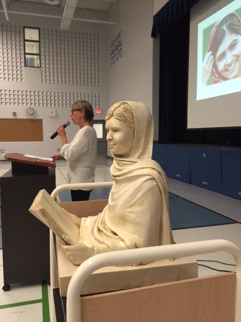 Speaking to the students at Sir Isaac Brock PS