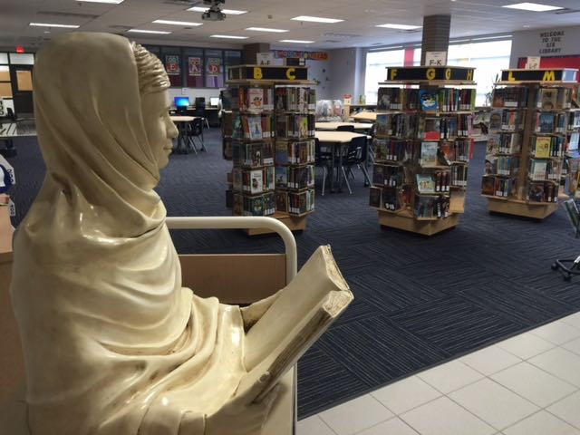 Malala sculpture at home in Sir Isaac Brock PS Library