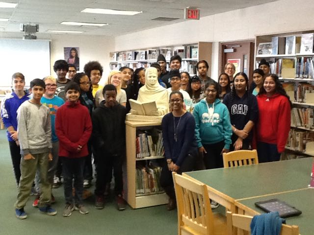 Malala sculpture at home in Royal Orchard Middle School library