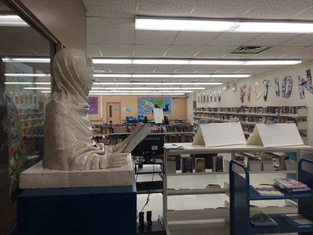 Malala sculpture at home in the Gordon Graydon Sr Public School library