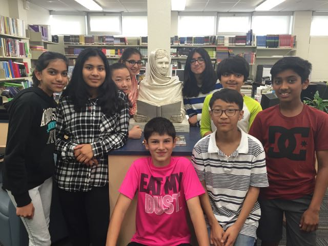 Allan A Martin Sr. Public School students with their Malala sculpture