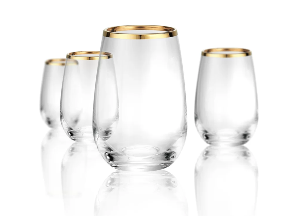 - 6. Georgio Band 15 Oz. Stemless Wine Glass, Wayfair, $34.99This Mother's Day help your mom's gift of being the ultimate hostess grow! Give her these beautiful stemless wine glasses with a gold rim! This way when she's hosting a party, she can offer her guests wine, in glasses they will be impressed by and make her look so chic. Maybe you should get a set for yourself also?