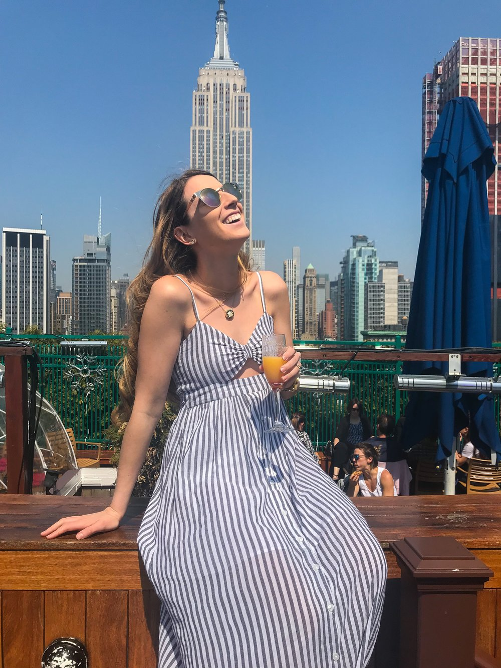 - Finally! Some sun in NYC! And I was so excited to spend the first warm day in NYC at 230 5th Rooftop with my coworkers taking in as much vitamin d as possible. And I fell in LOVE with this dress when I saw it and was so excited it was warm enough to wear it! Funny thing though, I got a crazy tan from it! Good thing it looks like a bikini top! I am wearing a small here and it fits perfect! The dress is very true to size, lightweight and perfect for those warm summer days!