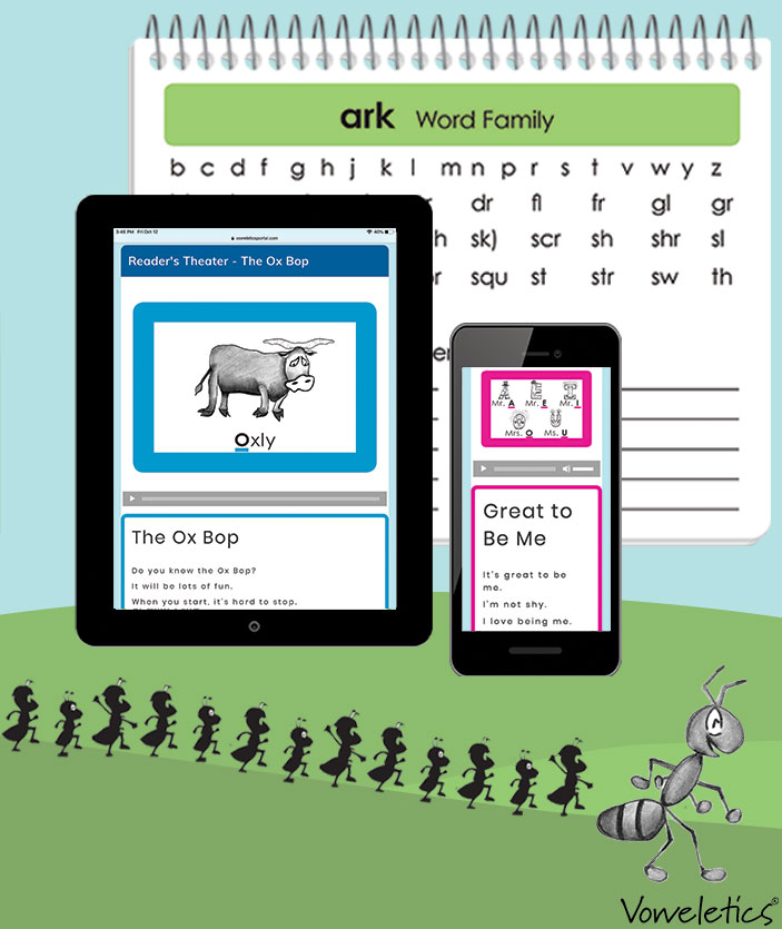 Bring in theReinforcements - Voweletics provides learning activities precisely coordinated to meet your children's needs. These tools are all you'll need to put the joy into learning to read!Teaching songs, word sorts, stories, poems, fluency audio files and charts... our strong array of reinforcements to support students and teachers every step of way.