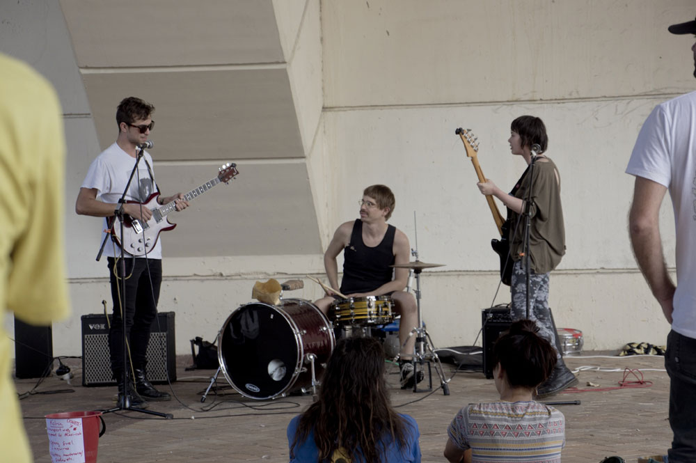 'The Slacksmiths' play at the Solar Powered Guerilla Gig under the William Jolly Bridge, Grey St. South, Brisbane