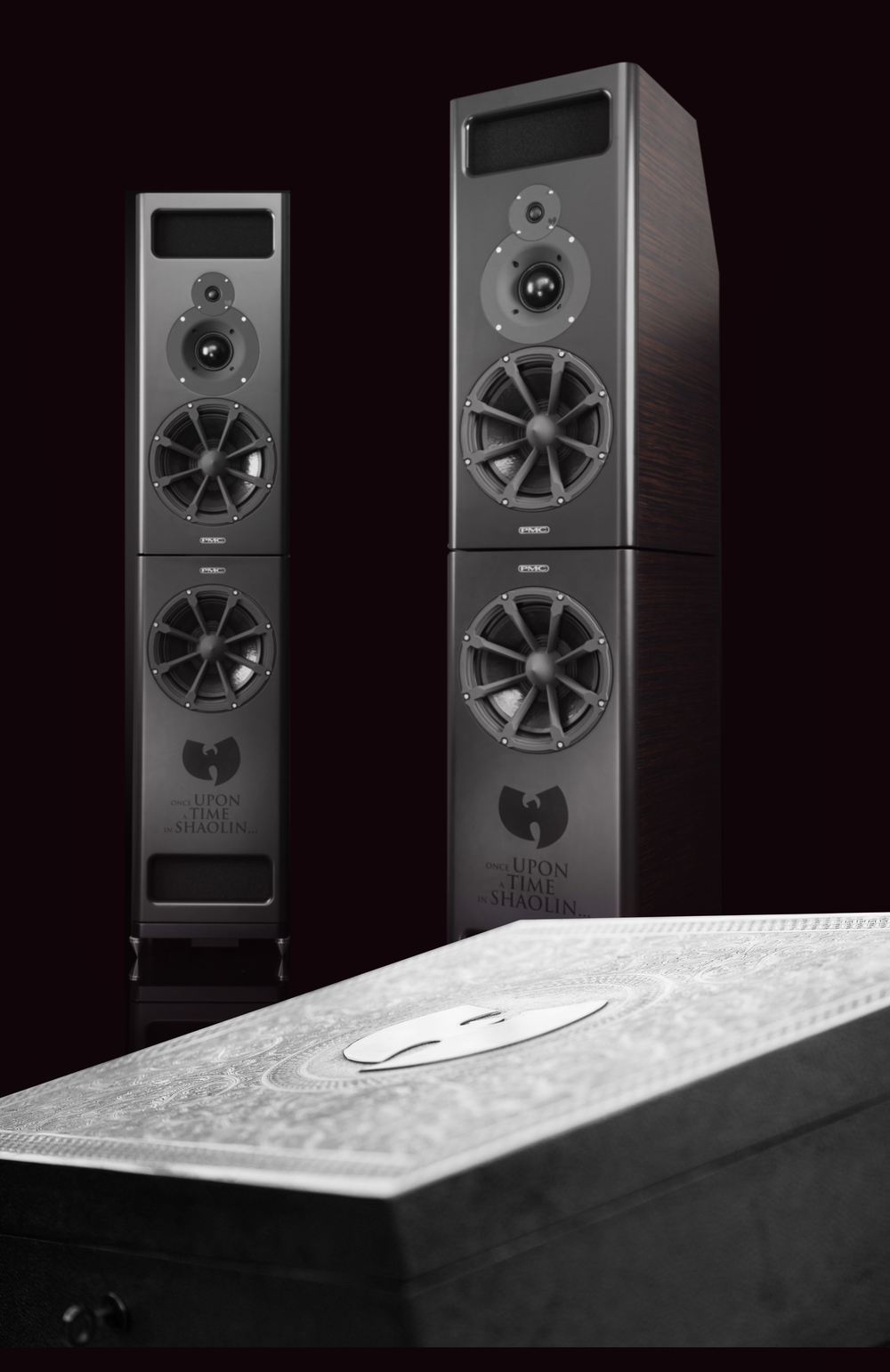 PMC MB2-XBD speakers and the hand carved nickel-silver casing designed by the British Moroccan artist Yahy