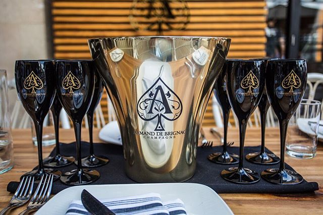 Strategic POS placement at all VIP tables at @seaspicemia for @armanddebrignac #goldrush #aceofspades ♠️⚜️