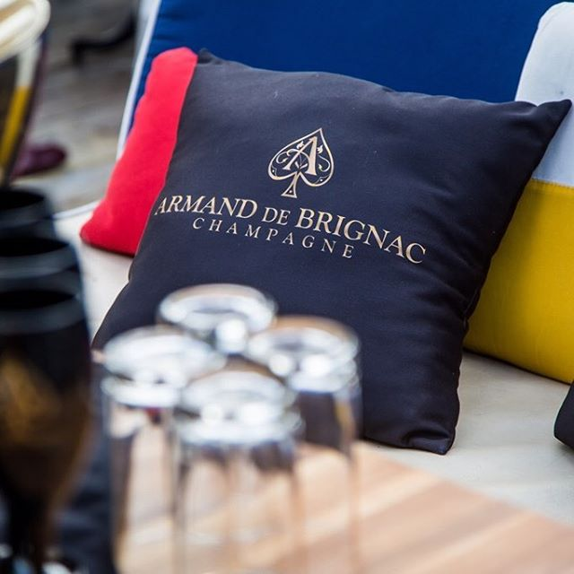 Branded outdoor pillows are comfortable and chic thanks to our friends at @sobepromos - @armanddebrignac #aceofspades ♠️⚜️
