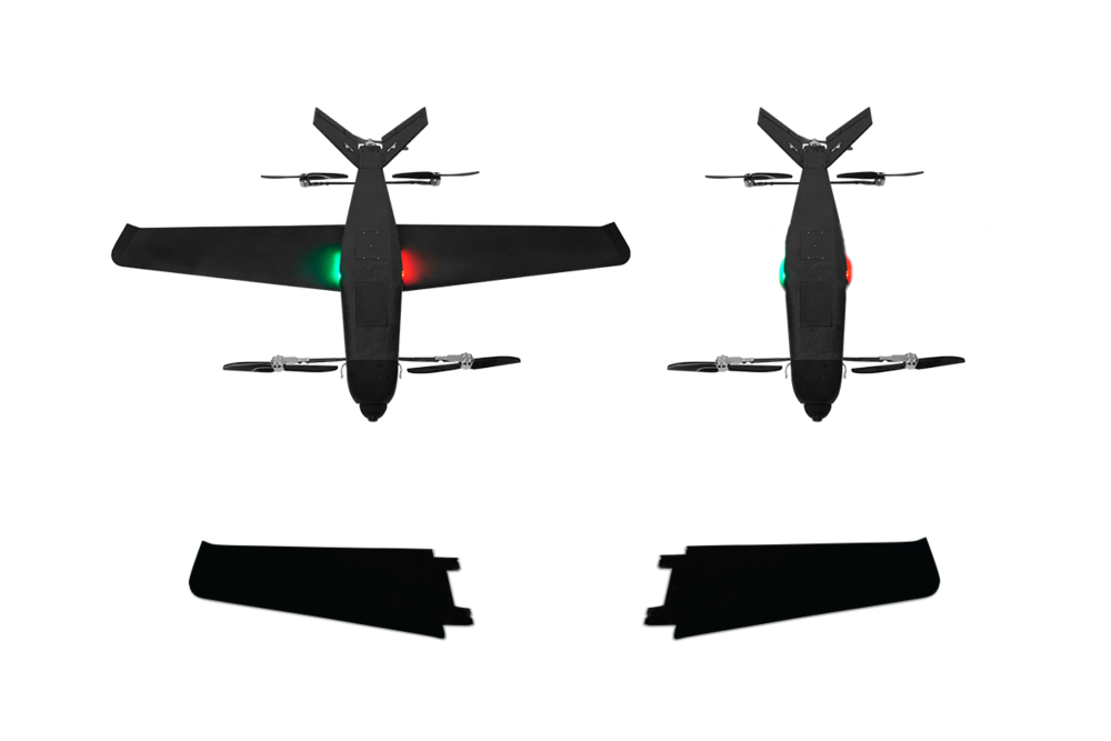Blade configuration (with wings) and Hornet configuration (wingless). The wings are removable.