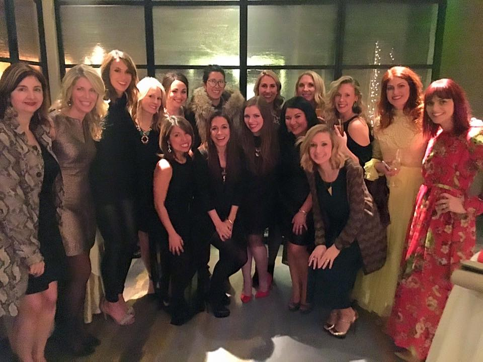 Blogger babes at a holiday happy hour at the Four Seasons Hotel. (We like it there).