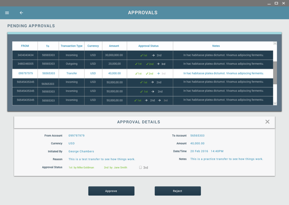 Cash Movement Approvals Screen