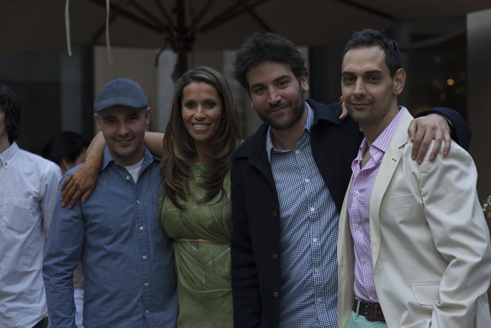 Rainbeau poses with three best friends, Trent Farmer, Josh Radnor , and John Marro