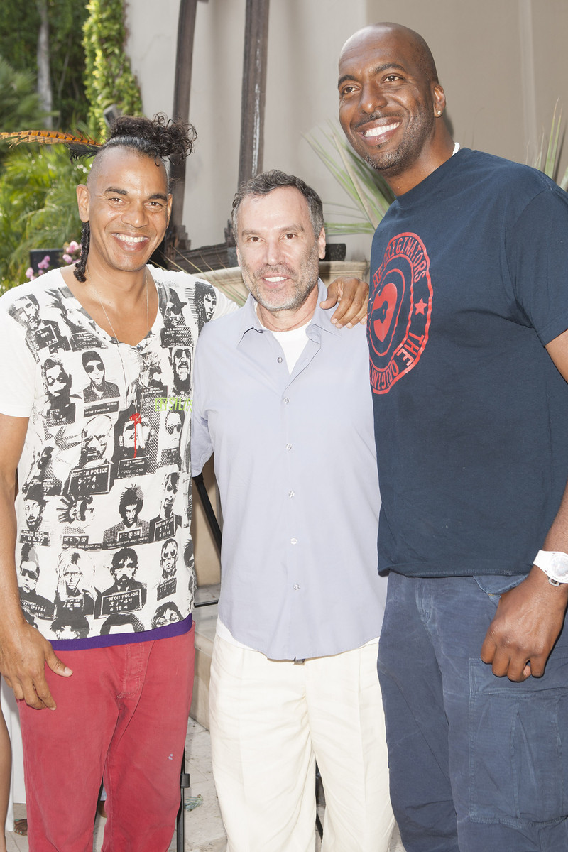 Cinematographer Jon Nash, Hollywood business manager Michael Karlin and celebrated NBA athlete John Sally greet one another