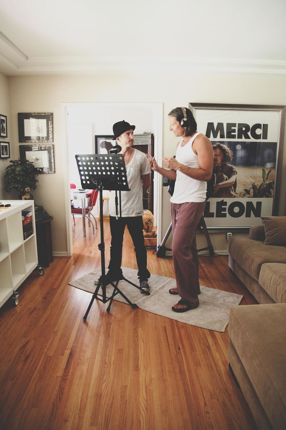 Shaun Monson recording with Aaron Paul