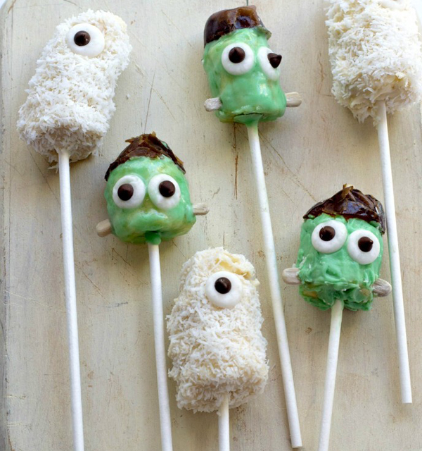 Vegan Halloween Banana Monster Pops by  Forks and Beans