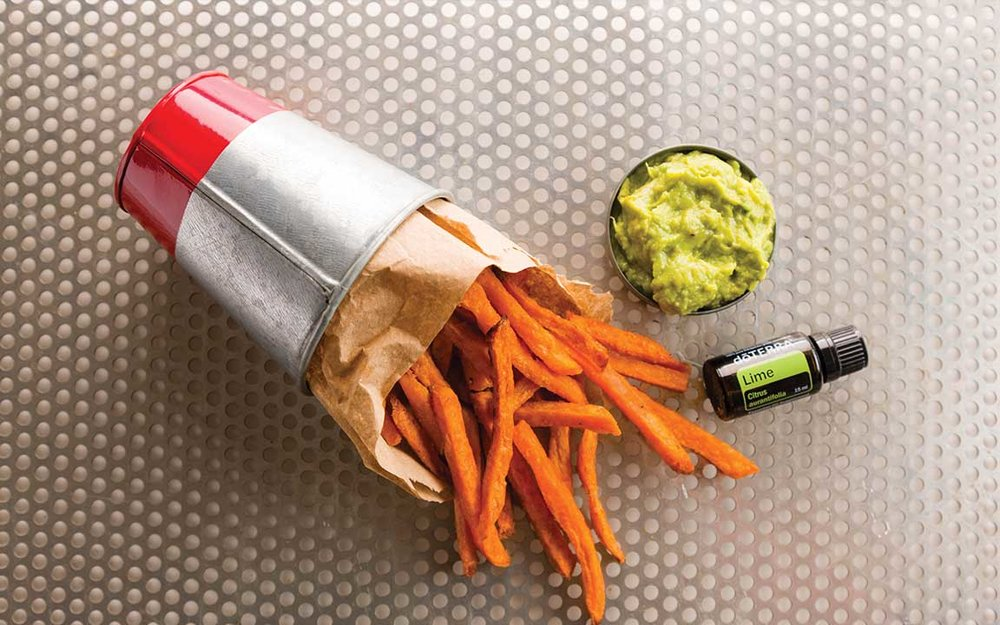SPICY SWEET POTATO FRIES WITH AVOCADO LIME DIP