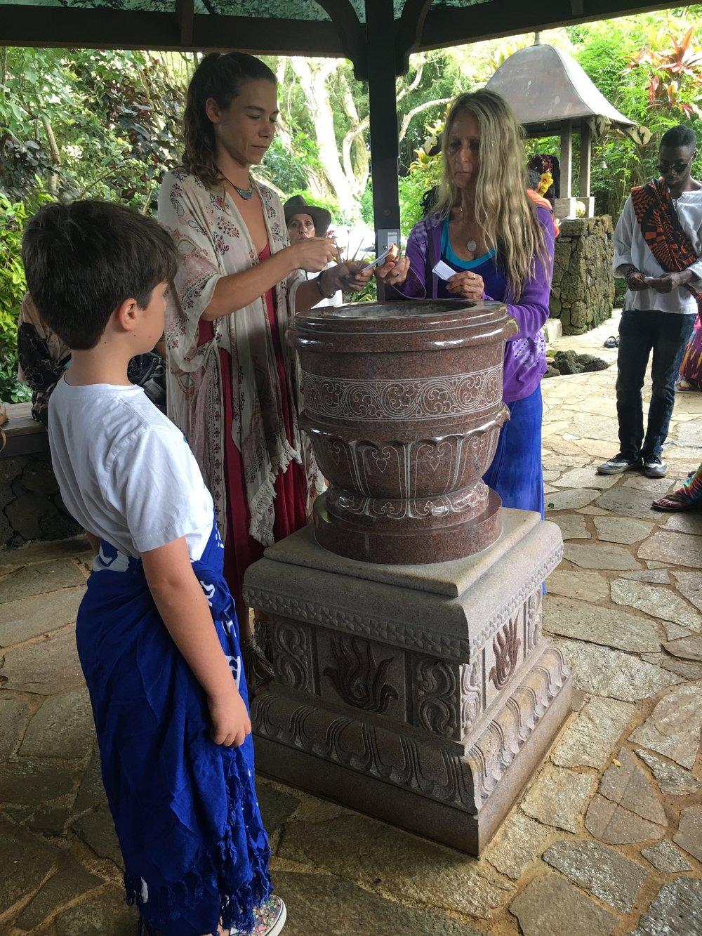 Puja at the Kauai Hindu Temple